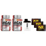 Nutrend BCAA Mega Strong Powder 2x + Šejkr + N1 Pre-Workout 3x